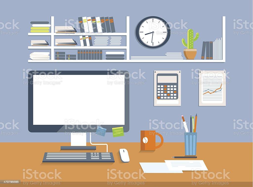 Interior office room.Flat design style vector art illustration