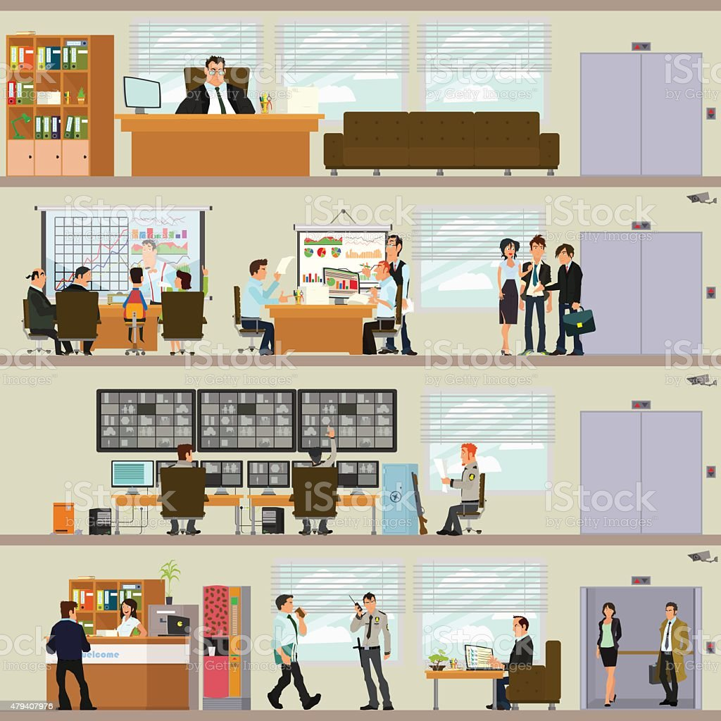Interior office vector art illustration