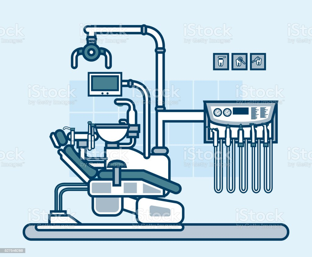 interior office with dental chair in line style vector art illustration