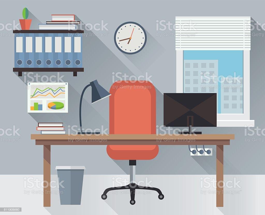 Interior office workplace vector vector art illustration