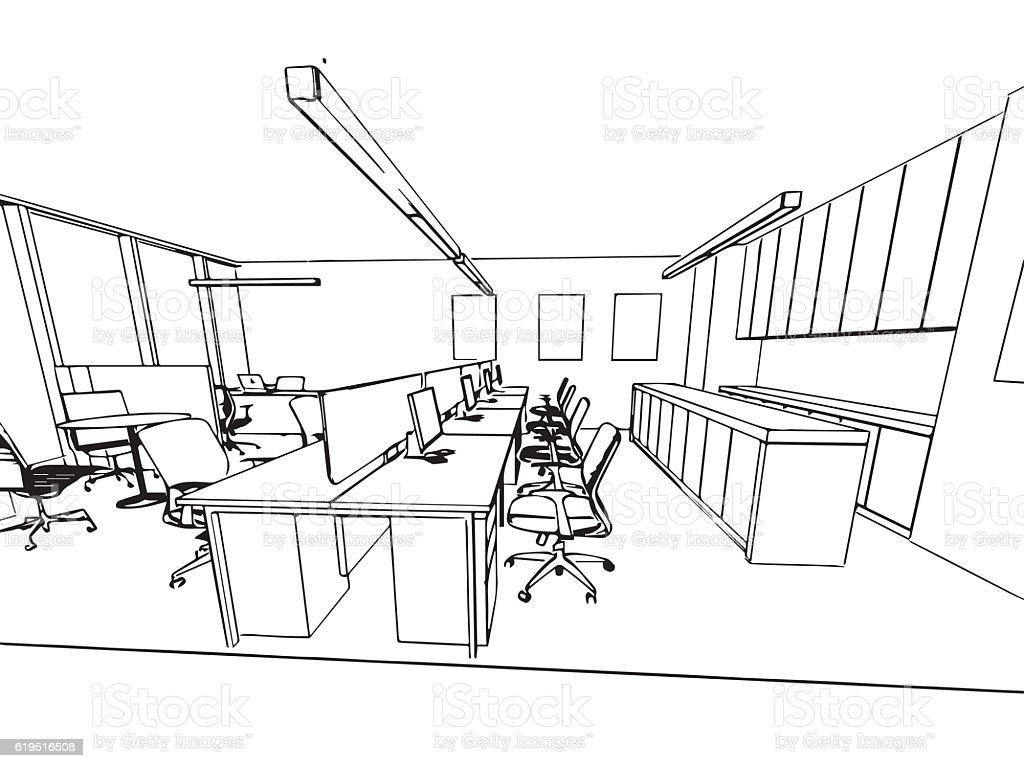 Interior resumen de dibujo dibujo perspectiva de un for Office ufficio
