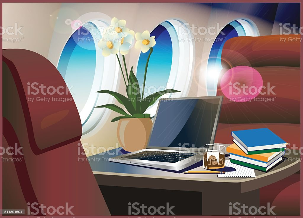 interior private jet vector art illustration