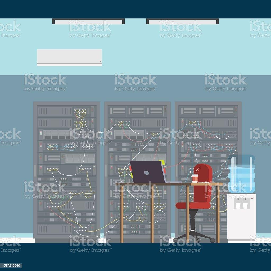 Interior server room vector art illustration