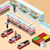 Interior Shop with Furniture Isometric View. Vector