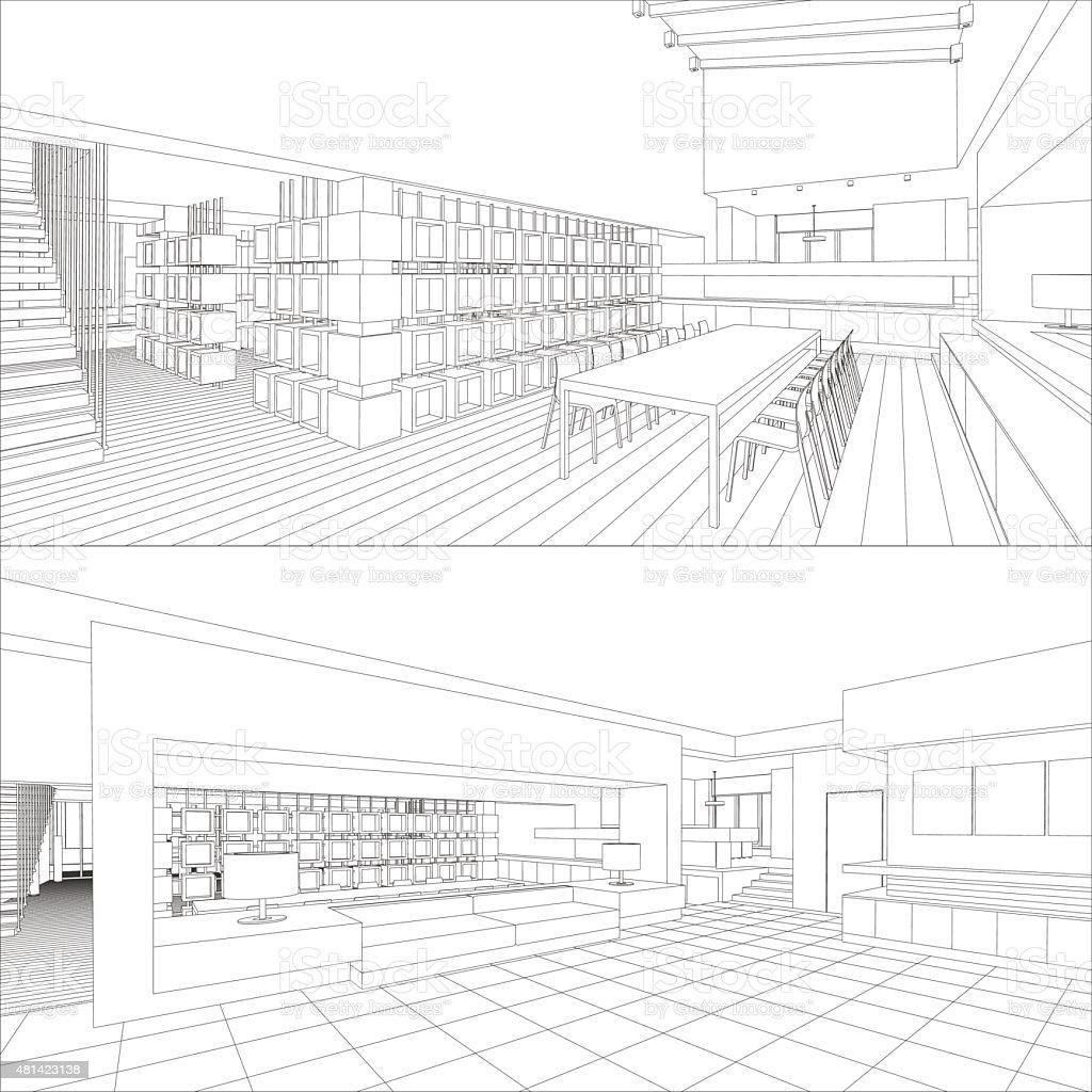 Interior vector drawing. vector art illustration