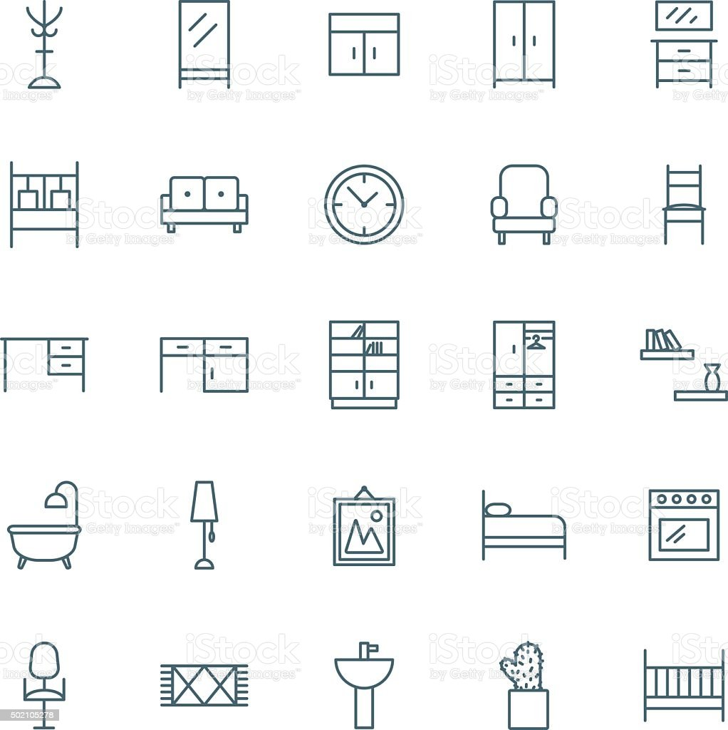 Interior vector icons set vector art illustration