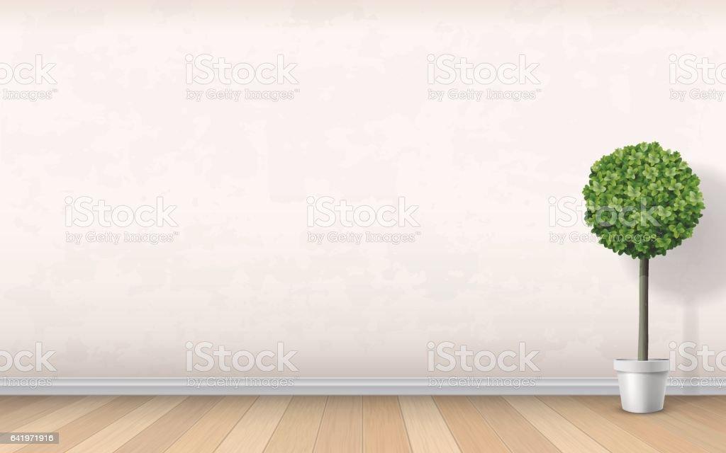 interior wall wooden floor tree in pot vector art illustration
