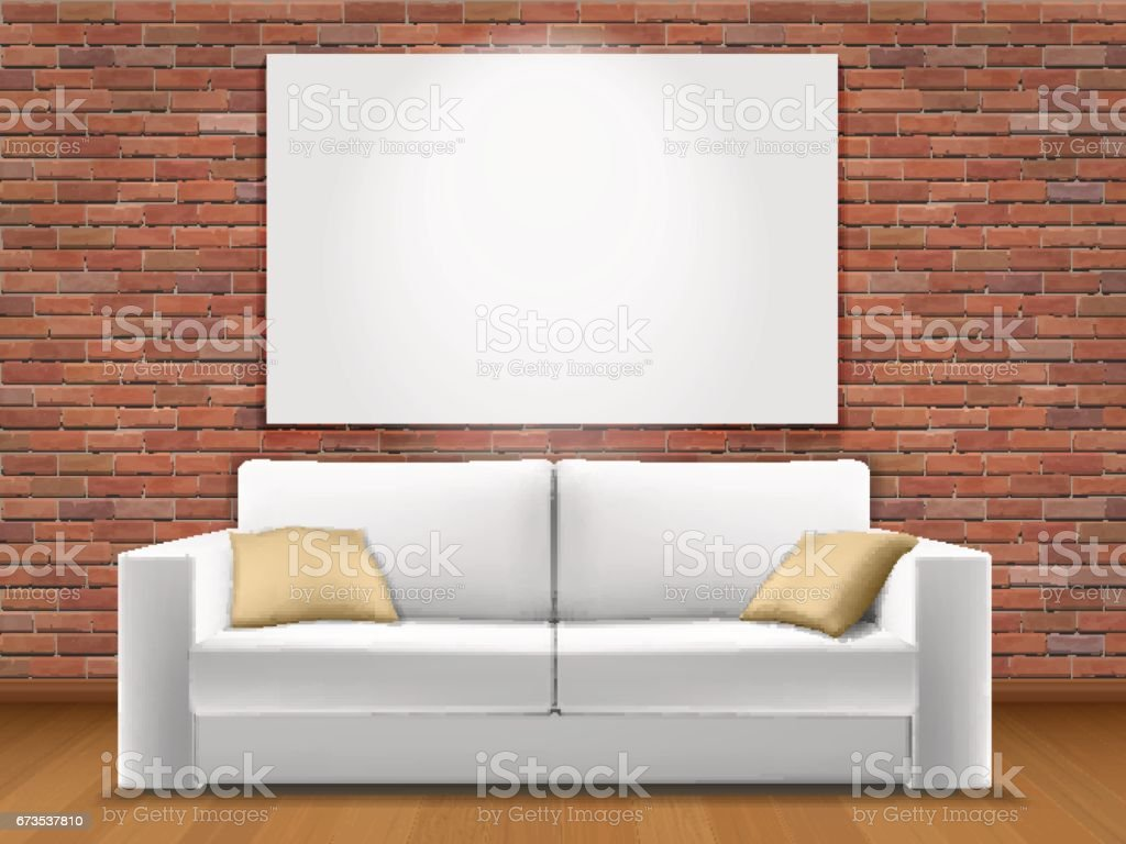 interior with red brick wall vector art illustration