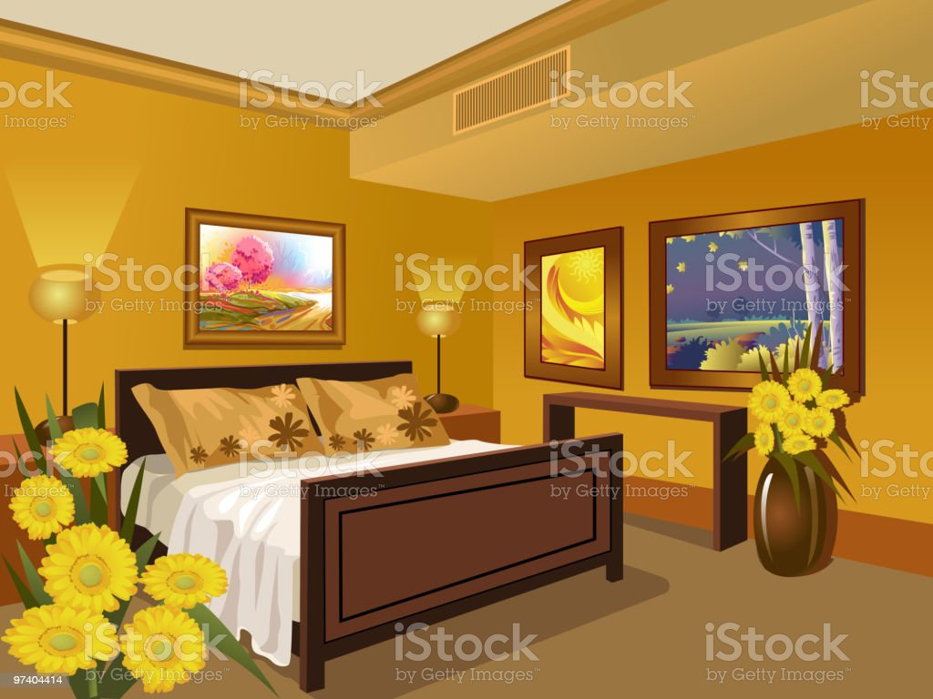 Interior/Bed room royalty-free stock vector art