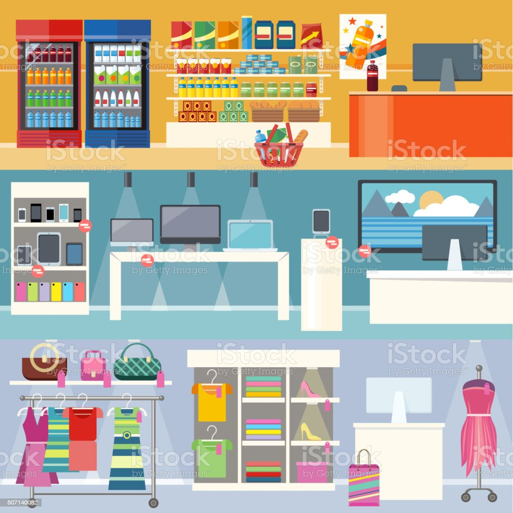 Interiors Stores Clothes, Technology and Food vector art illustration