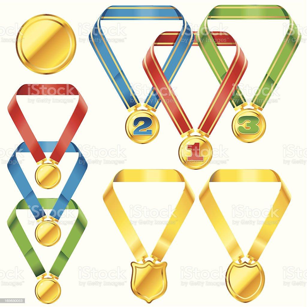 Interlinked Medals vector art illustration