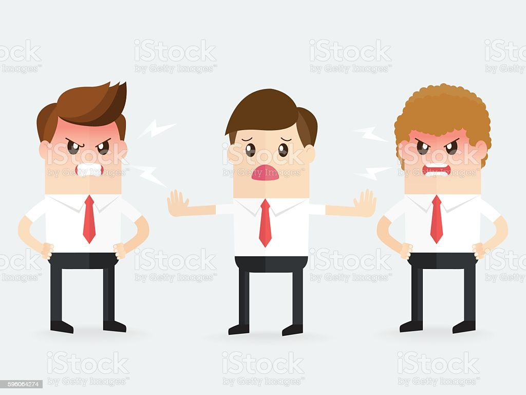 intermediary tries to stop business people from arguing and fighting vector art illustration