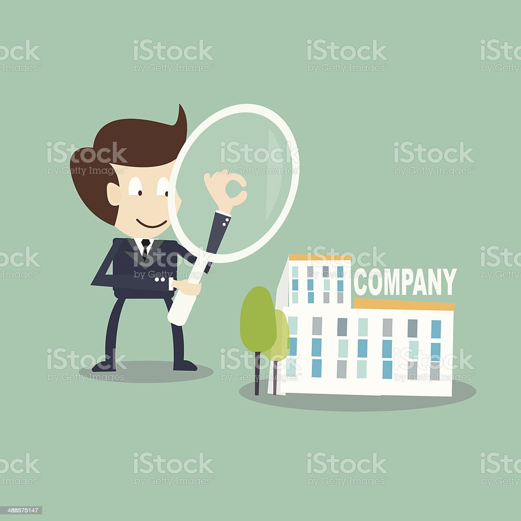 Internal Auditing concept - businessman  with magnifying audit  on company vector art illustration