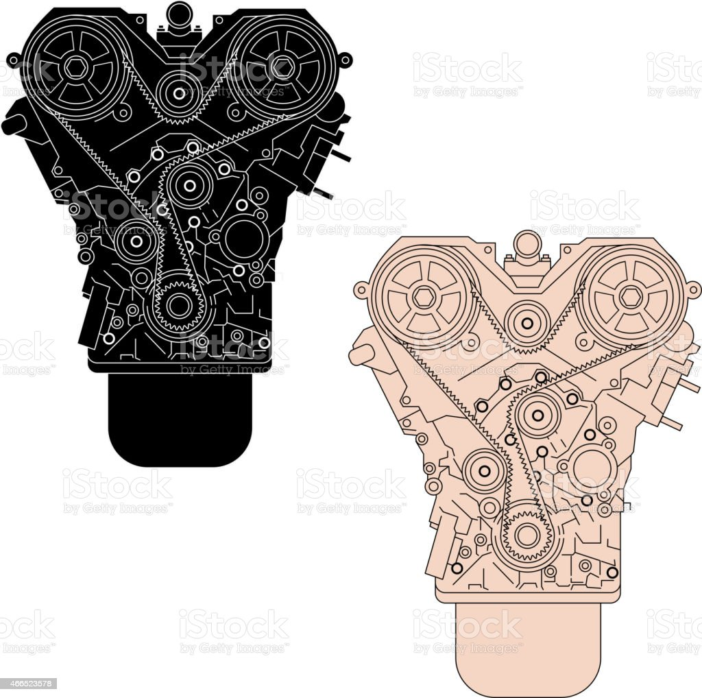 Internal combustion engine, as seen from in front. vector art illustration