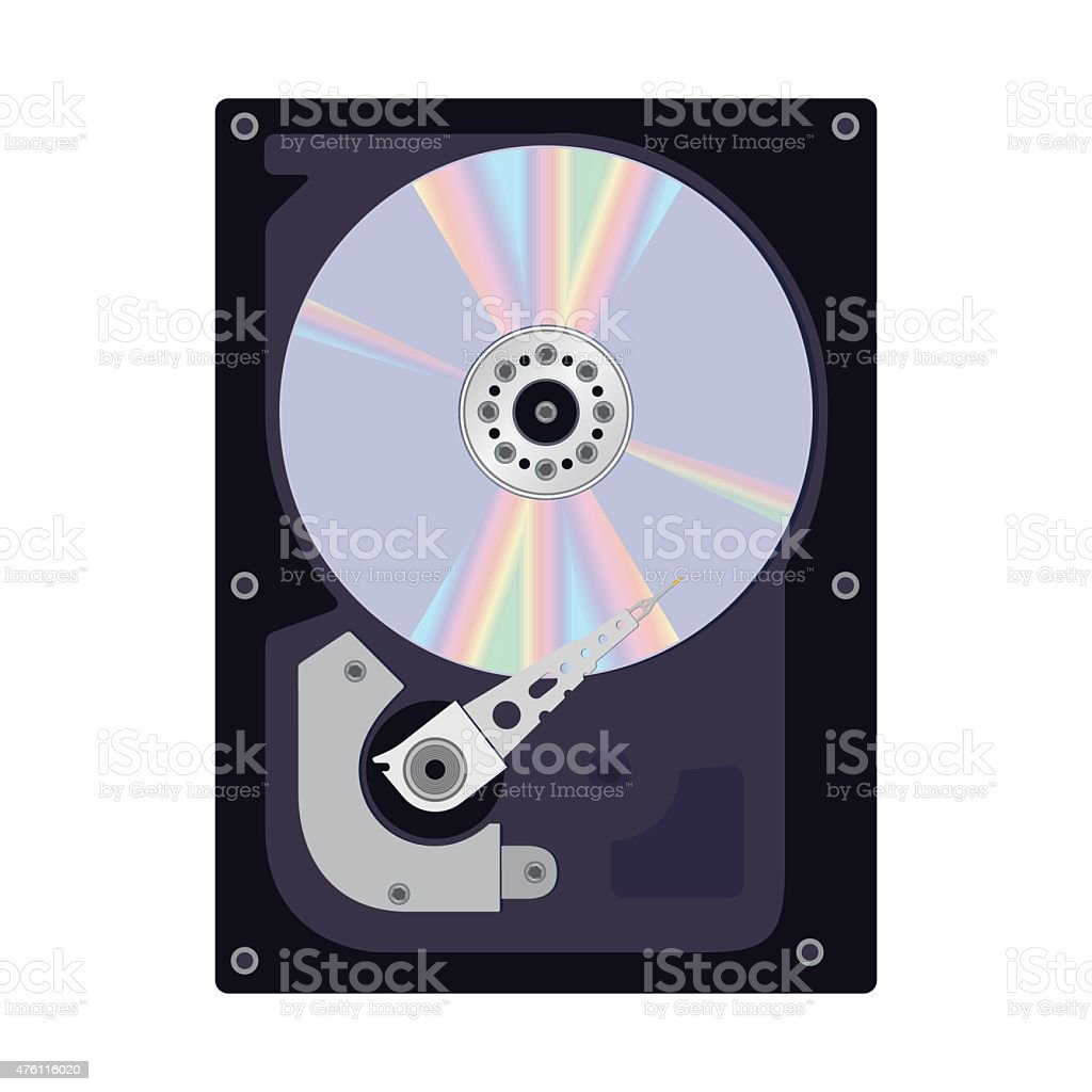 Internal View of the Hard Disk of a Computer. vector art illustration