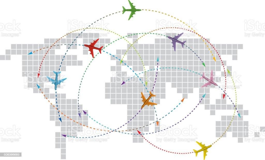 International airline vector art illustration