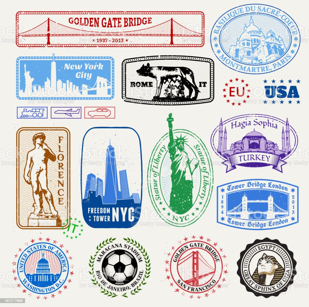 International & American Famous Travel Destinations  Set vector art illustration