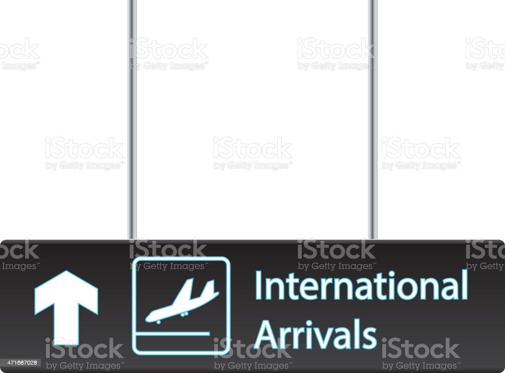 International arrivals board vector art illustration