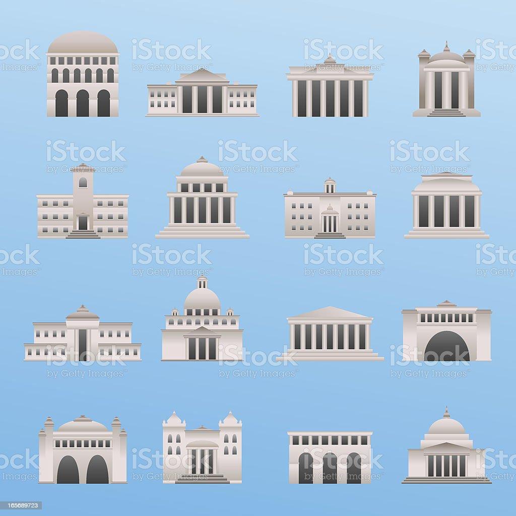 International Buildings vector art illustration