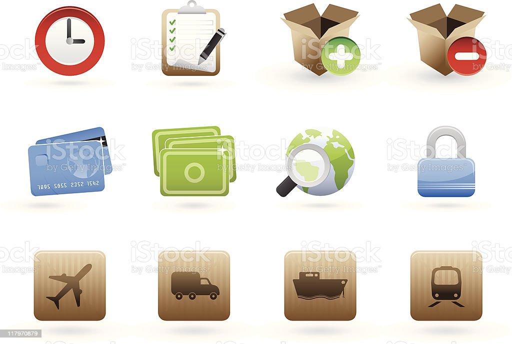 international commerce icon set royalty-free stock vector art