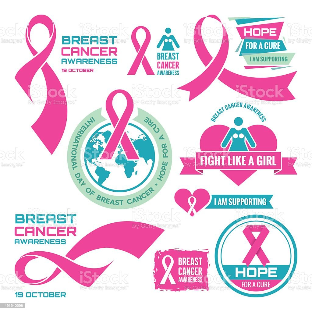 International Day of Breast Cancer - creative badges. vector art illustration
