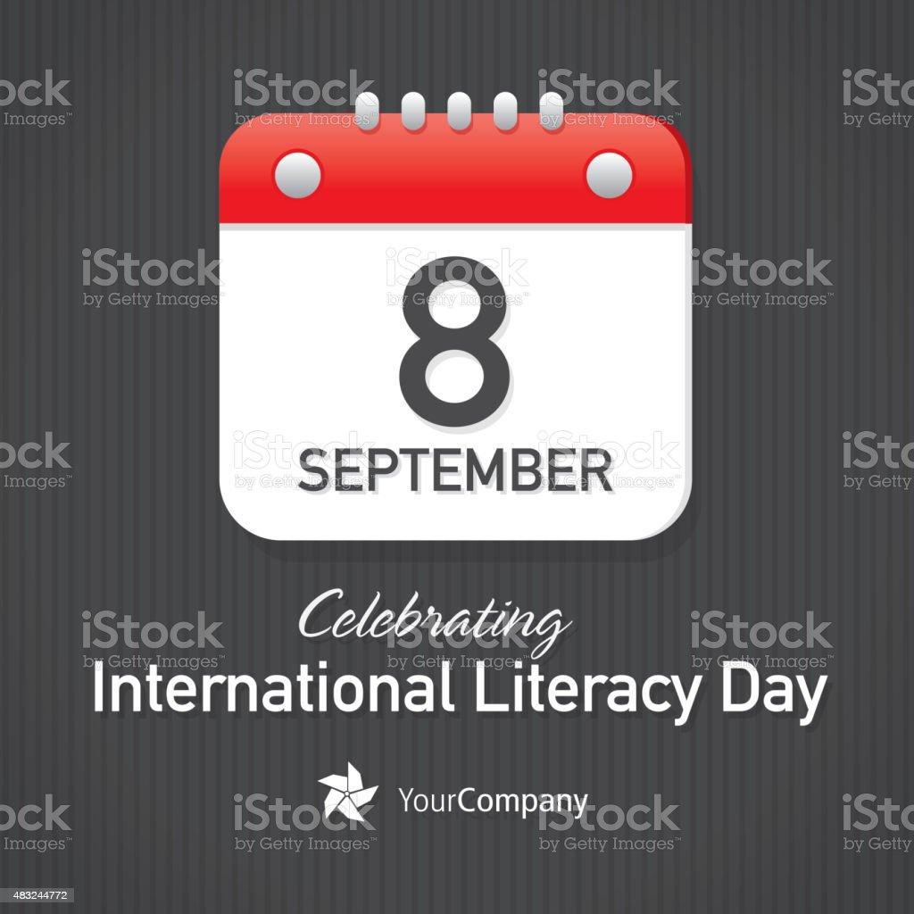 International Day of Literacy Day Calendar design layout template vector art illustration