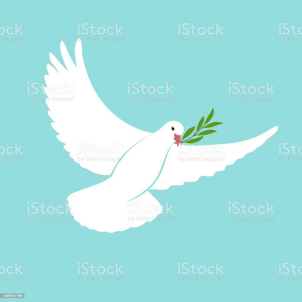 International Day Peace Template with white dove, olive, 21 september. vector art illustration