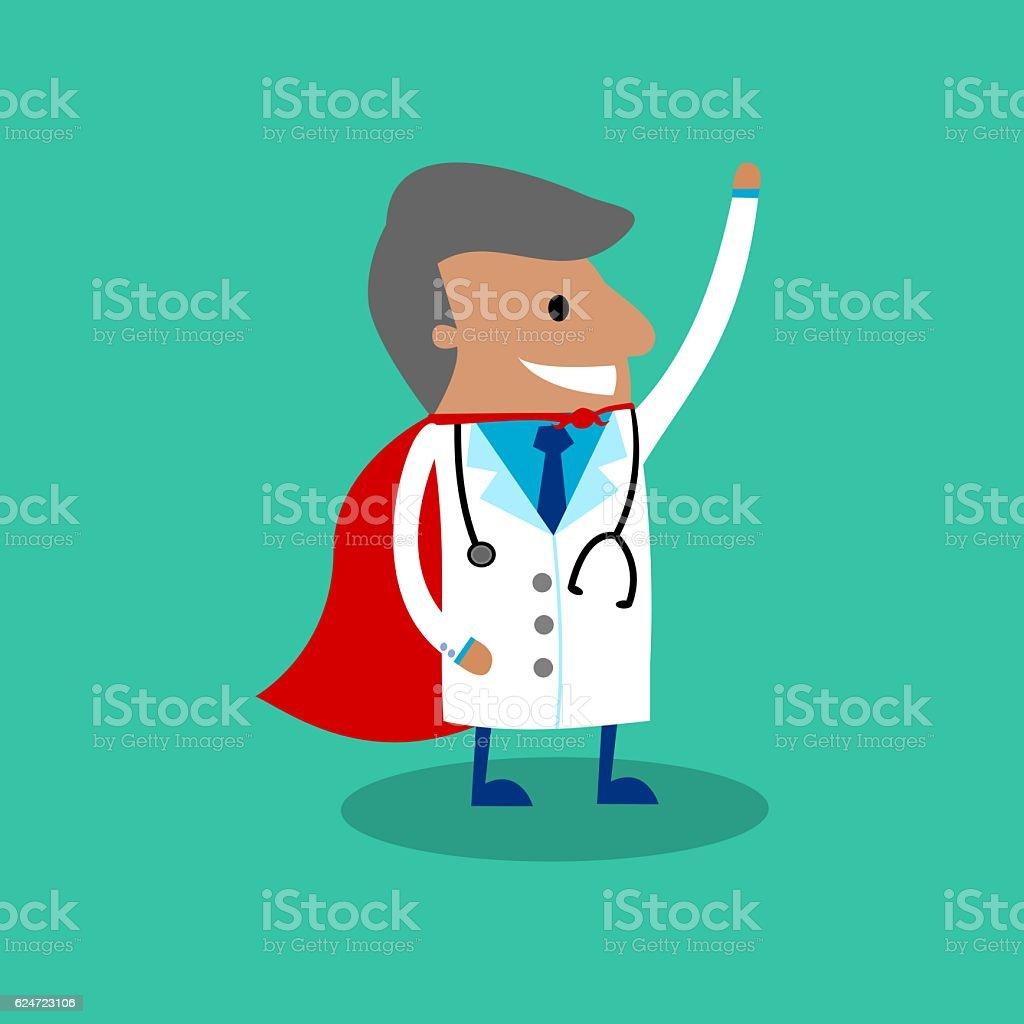 International Doctor In Red Cape vector art illustration