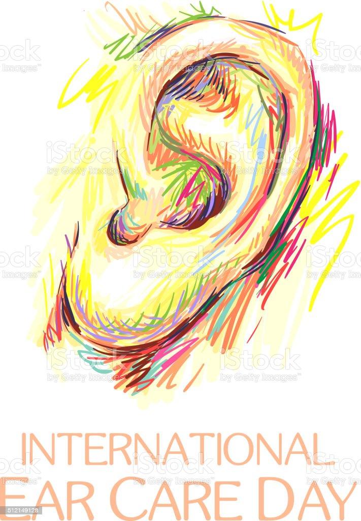 International Ear Care Day. Ear sketch vector art illustration