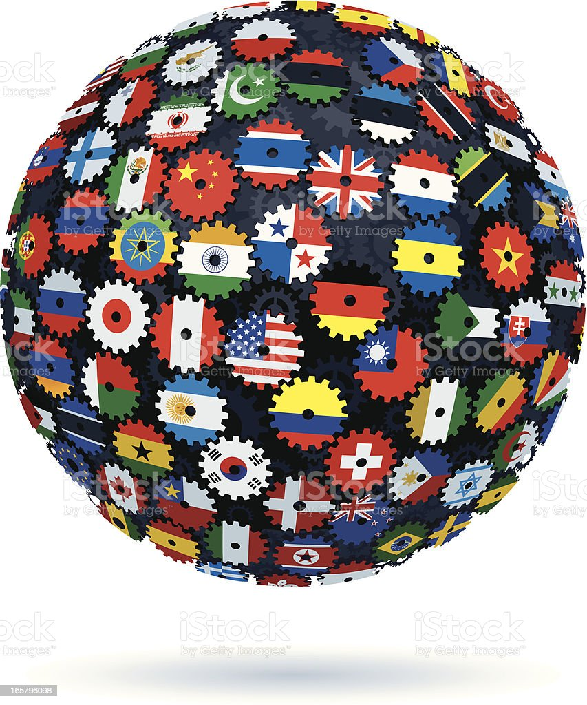 international flags cogs sphere royalty-free stock vector art