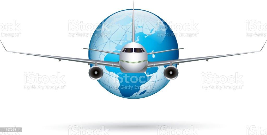 International flight vector art illustration
