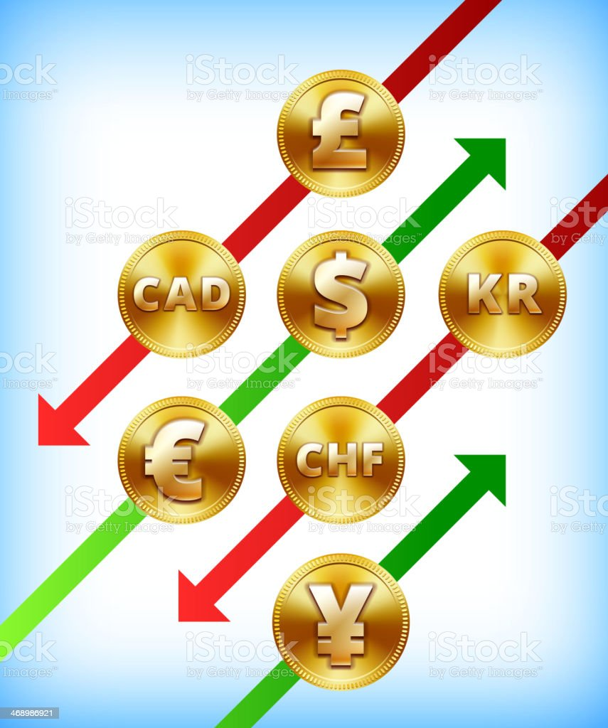International Gold Coins Rise and Fall vector art illustration
