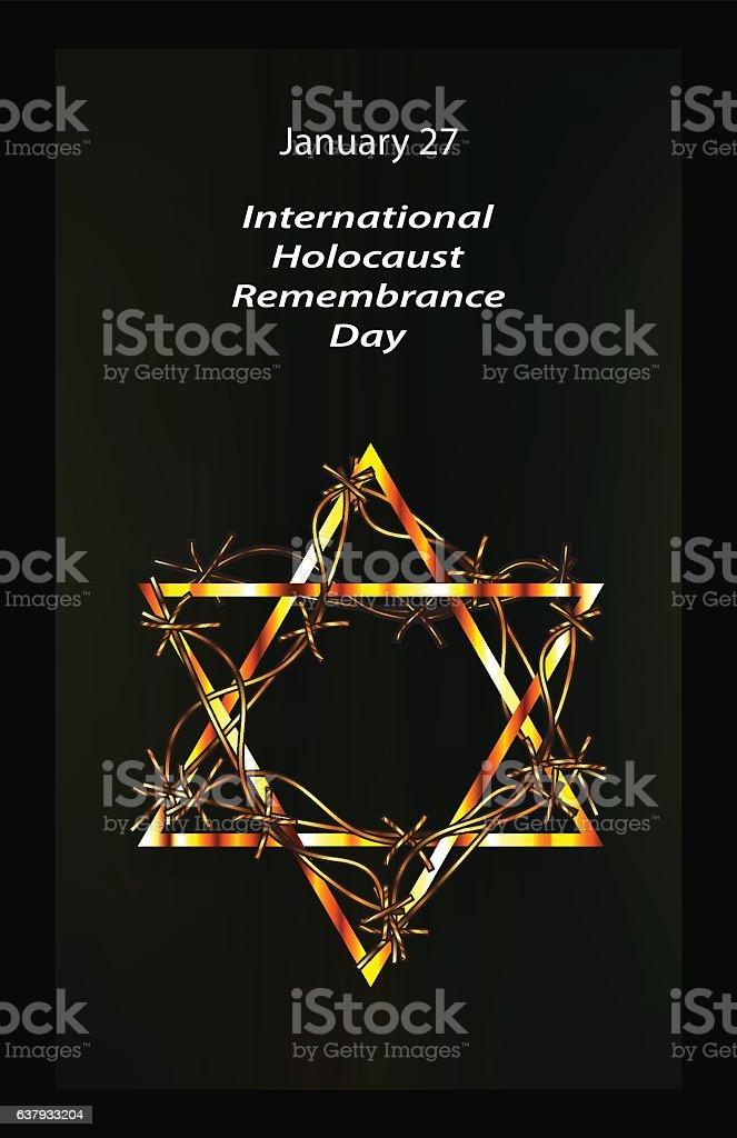 International Holocaust Remembrance Day. 27 January. Hebrew. Vector illustration vector art illustration