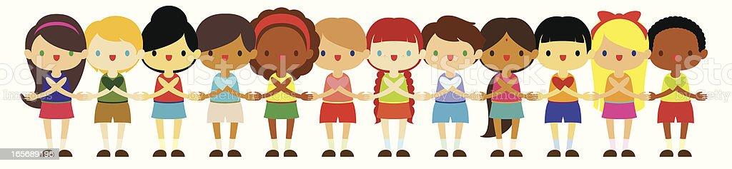 International Kids vector art illustration