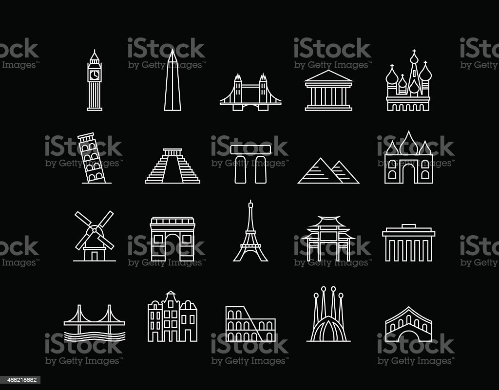 International landmark simple line art icon set vector art illustration