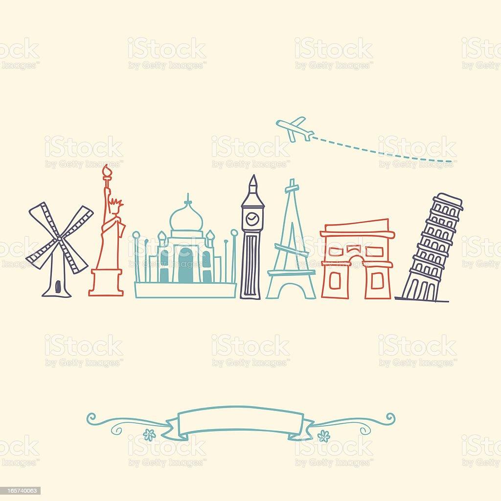 International landmarks and travel destinations cityscape set royalty-free stock vector art