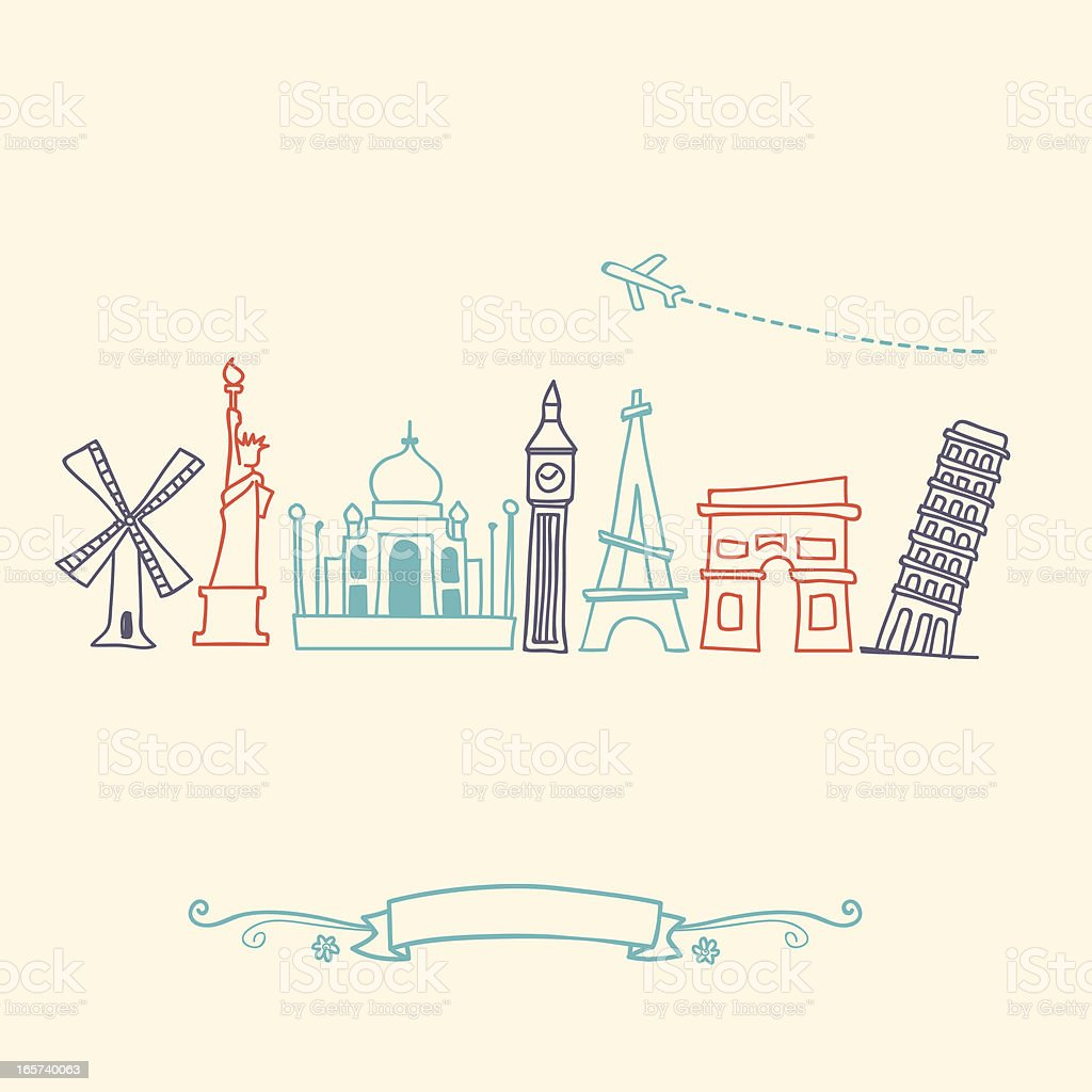 International landmarks and travel destinations cityscape set vector art illustration