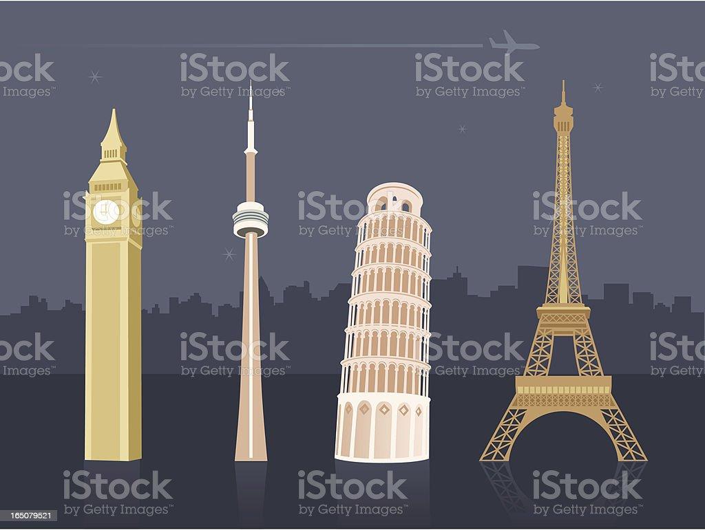International landmarks and travel destinations vector art illustration