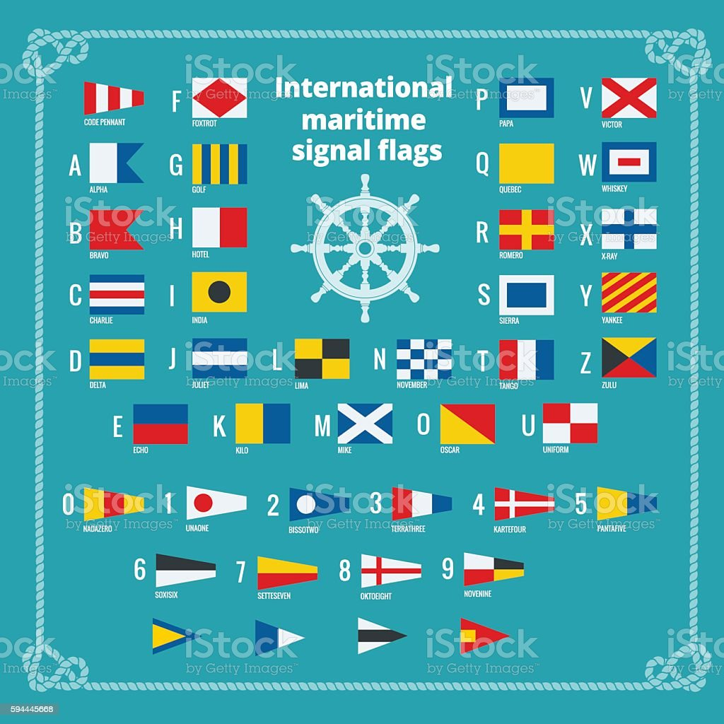 International maritime signal flags. Sea alphabet vector art illustration