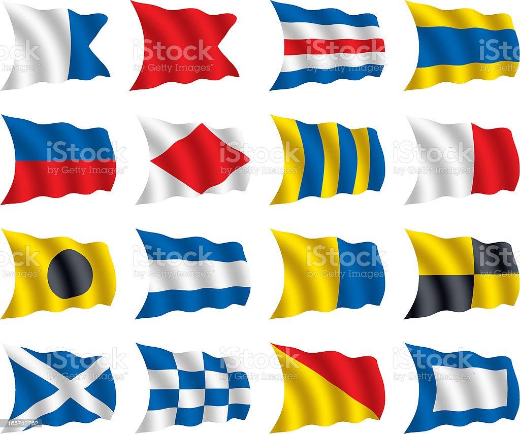 International Nautical Signal Flags royalty-free stock vector art