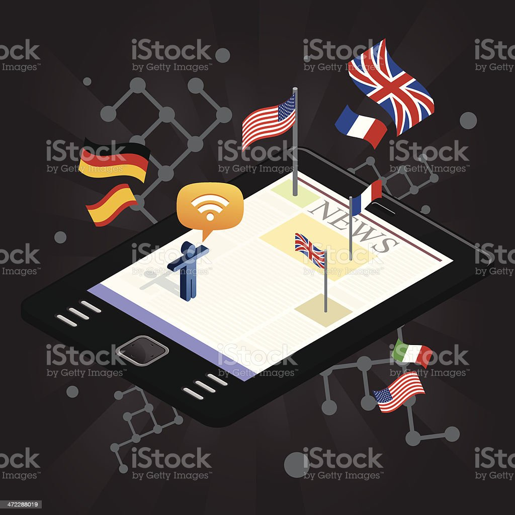 International news tablet royalty-free stock vector art