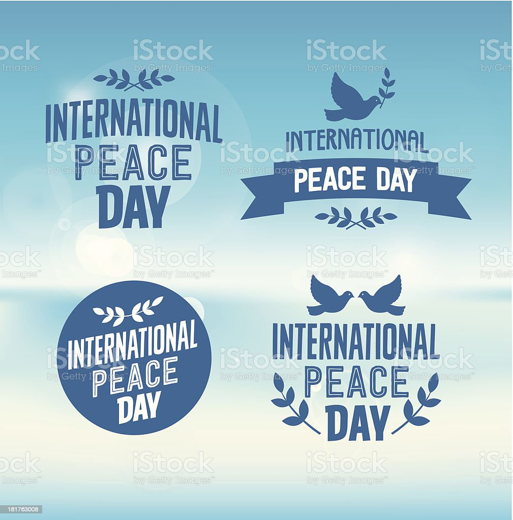 International Peace Day Typographic Designs with Pigeons and Olive Branches royalty-free stock vector art