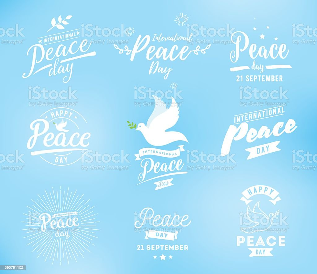 International peace day vector emblem vector art illustration
