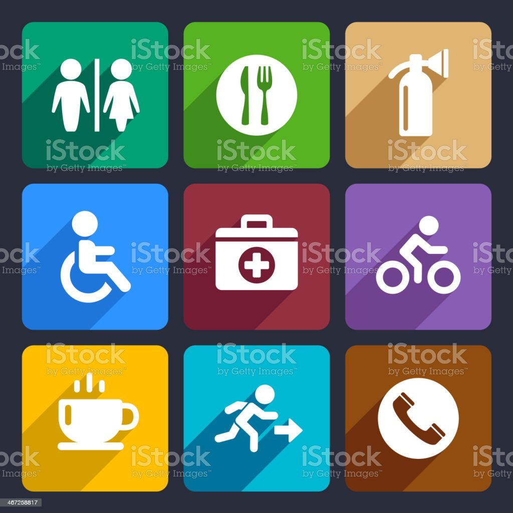 International Service Signs Flat Icons Set 39 royalty-free stock vector art
