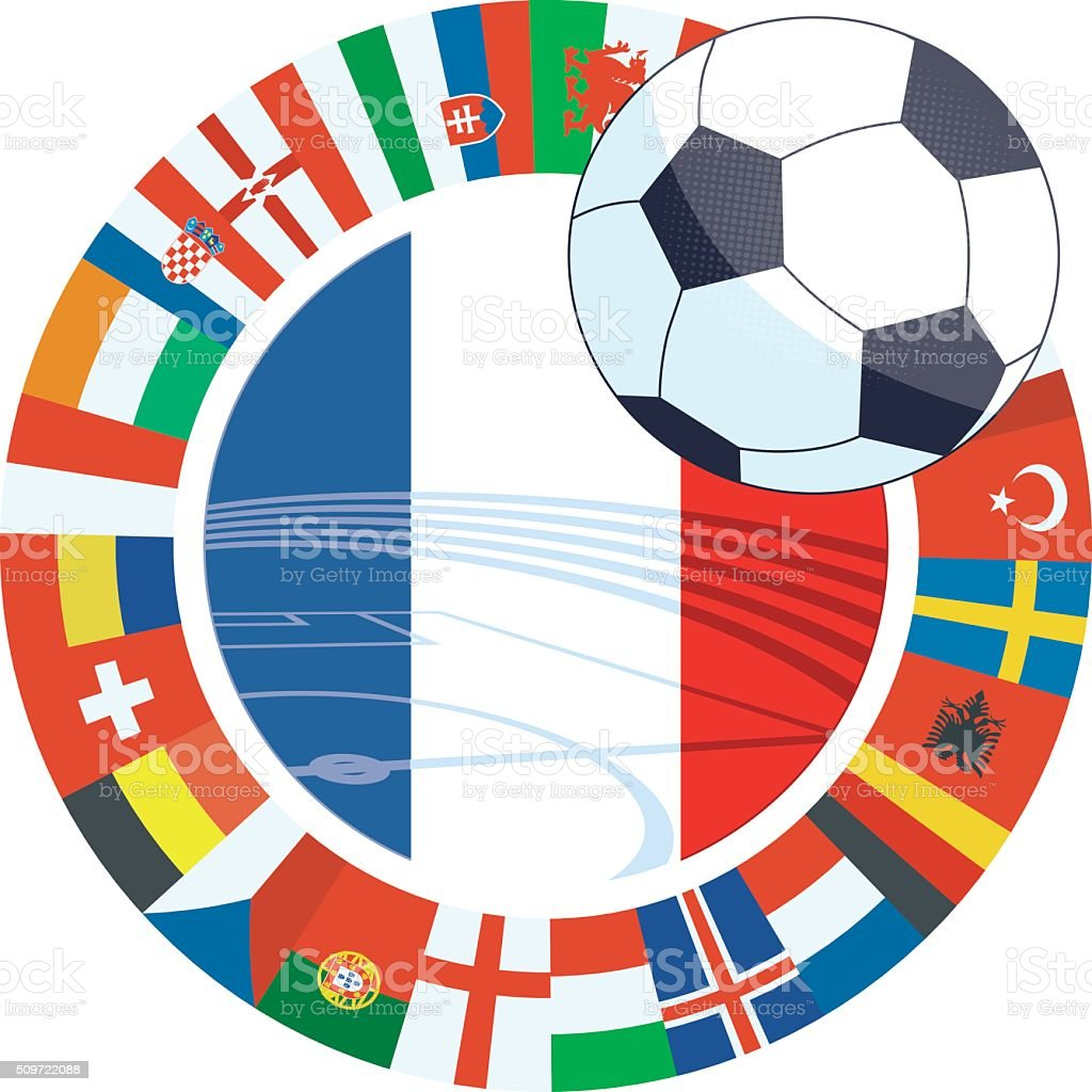 international soccer label with french flag in flagring stock photo