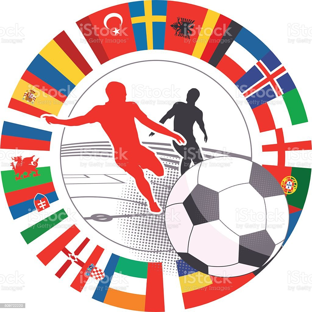 international soccer match vector symbol with flags stock photo