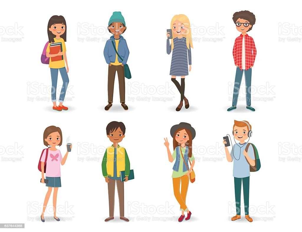 International students with books, phones and backpacks vector art illustration