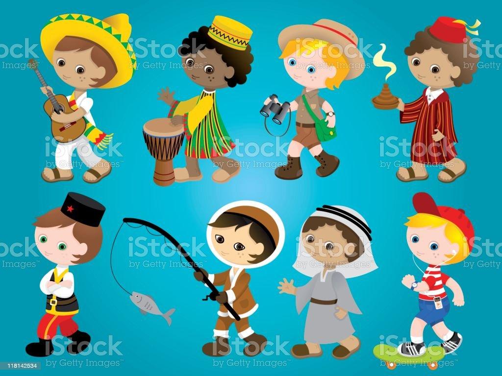 International traditional boys set vector art illustration