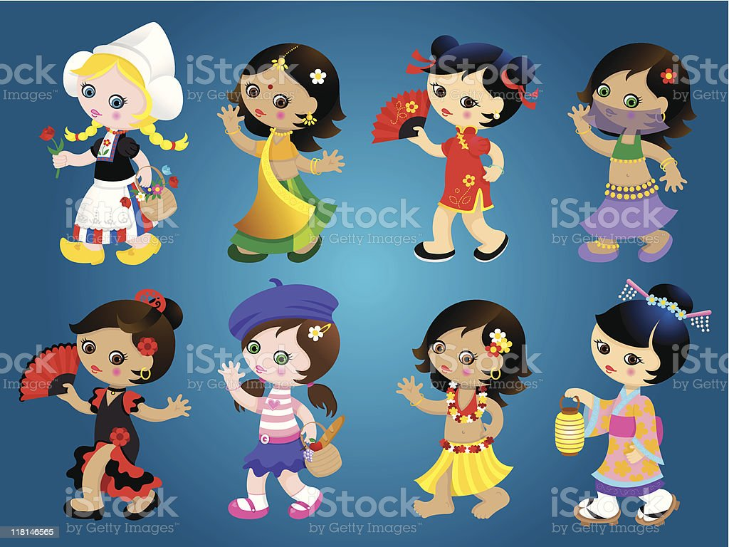 International traditional girls set royalty-free stock vector art