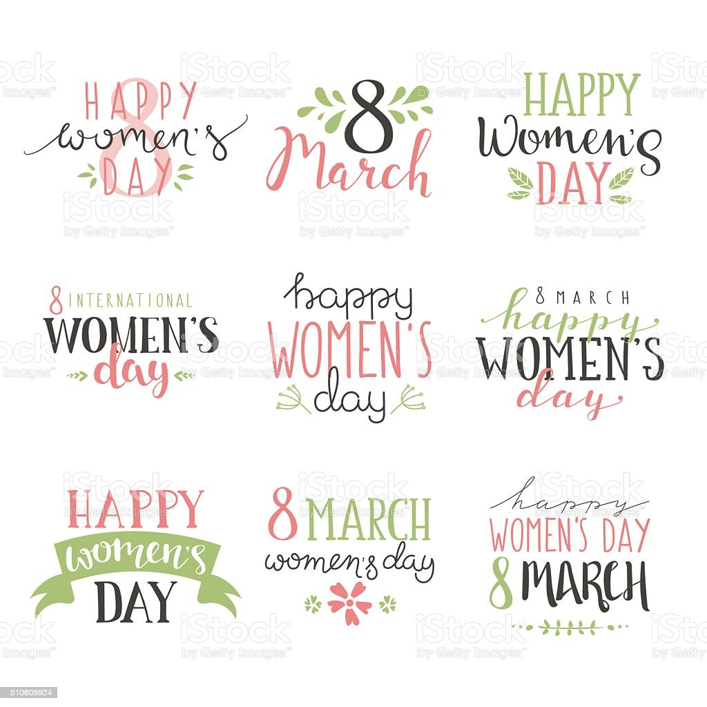 International Womens Day text 8 March for celebration greeting card vector art illustration